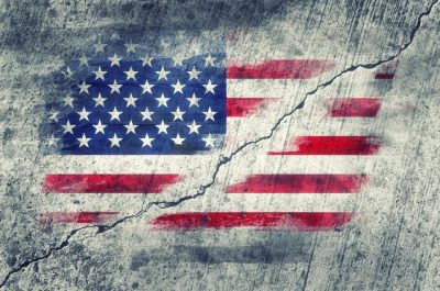 Fractured US flag